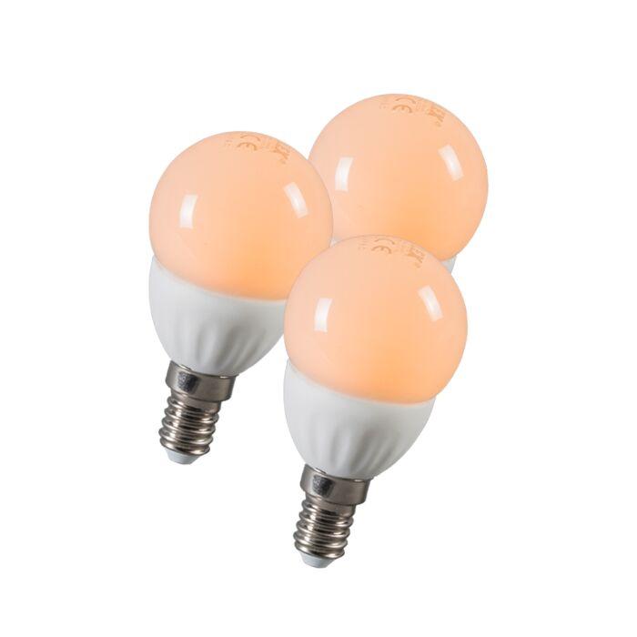 Boule-à-LED-E14-3W-250-lumens-environ-25W-série-de-3