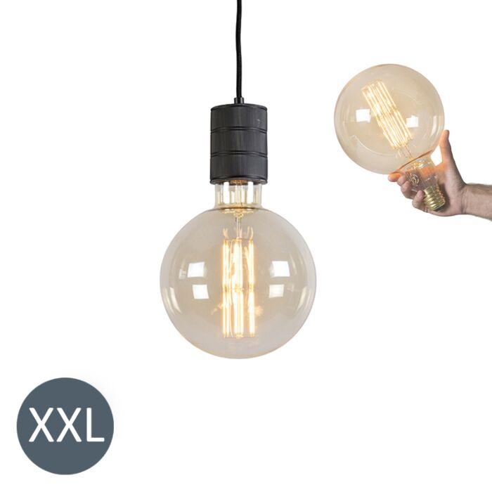 Lampe-suspendue-Megaglobe-noire-avec-lampe-à-LED-dimmable