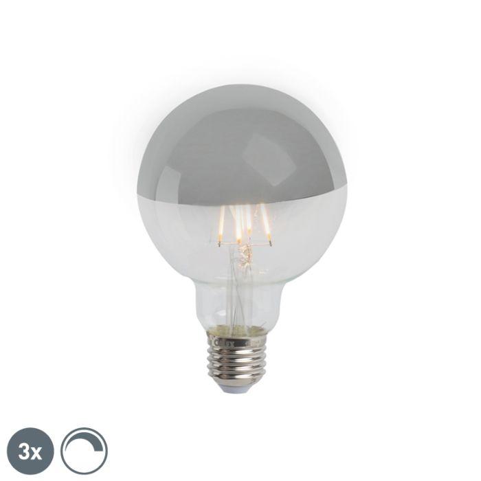 Lot-de-3-rétroviseurs-LED-E27-dimmables-G95-argent-280lm-2300K
