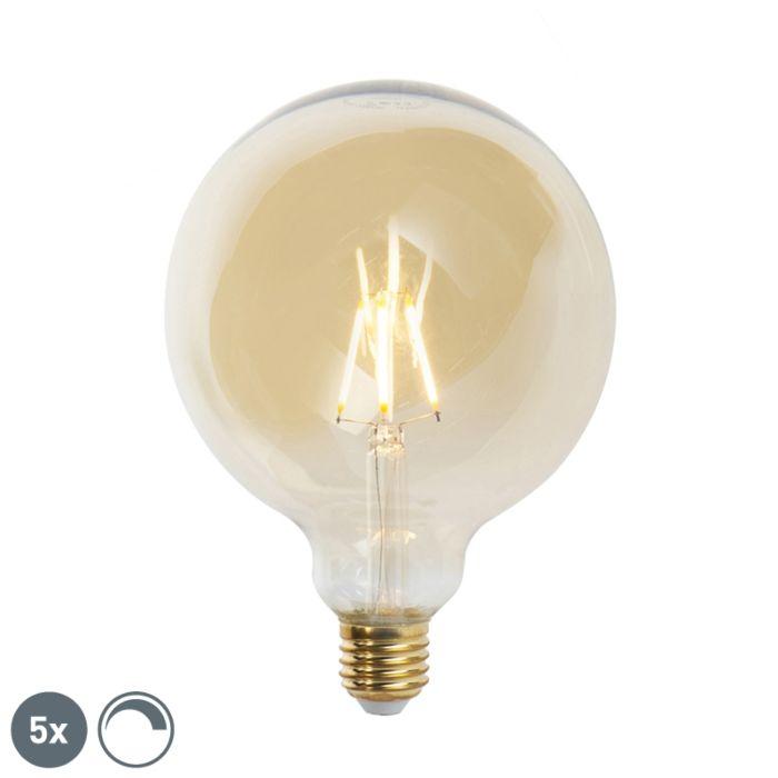 Lot-de-5-lampes-à-incandescence-LED-E27-à-intensité-variable-G125-goldline-2200K