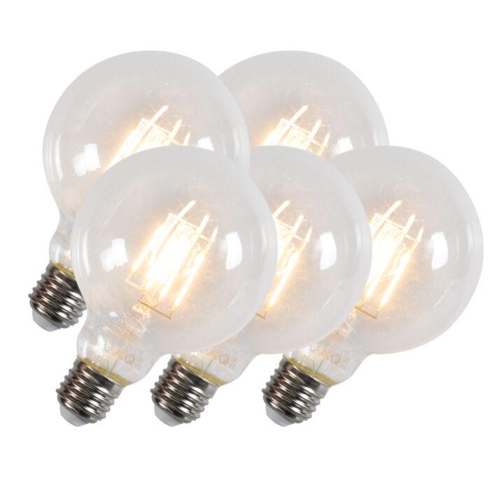 Ensemble-de-5-lampes-à-filament-à-led-G95-E27-6W-600-lumen