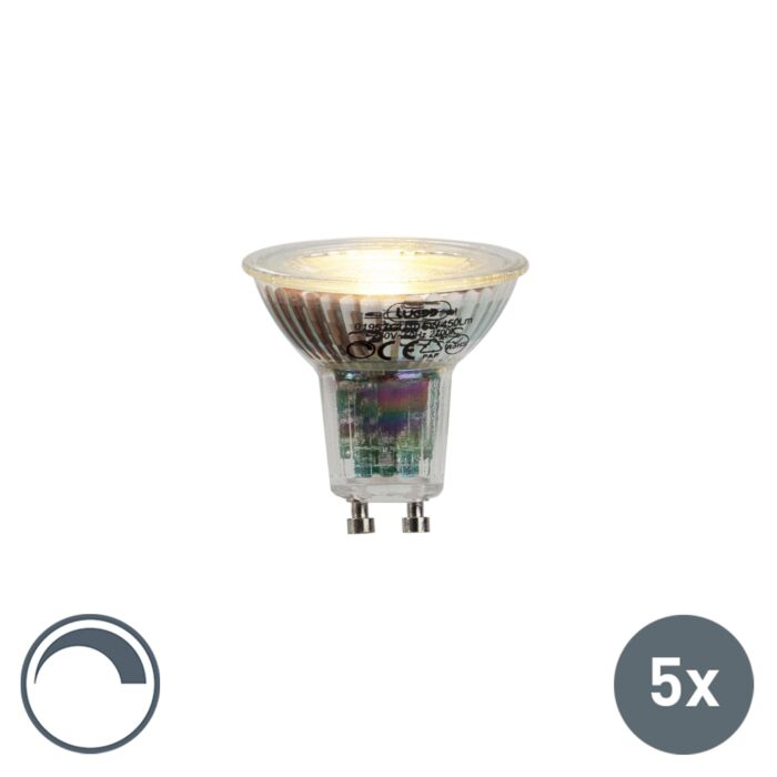 Lot-de-5-lampes-LED-GU10-6W-450lumen-2700K-dimmable
