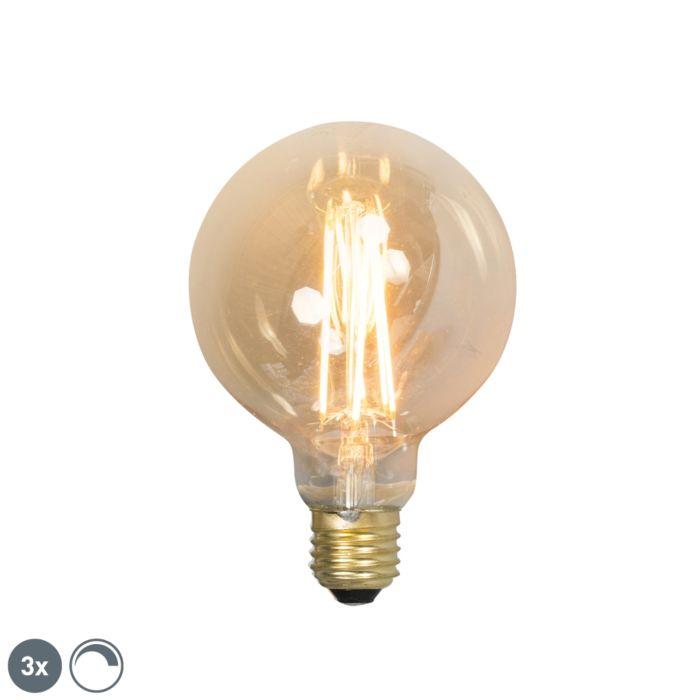 Ensemble-de-3-lampes-à-filament-LED-réglables-E27-G95-goldline-2100K