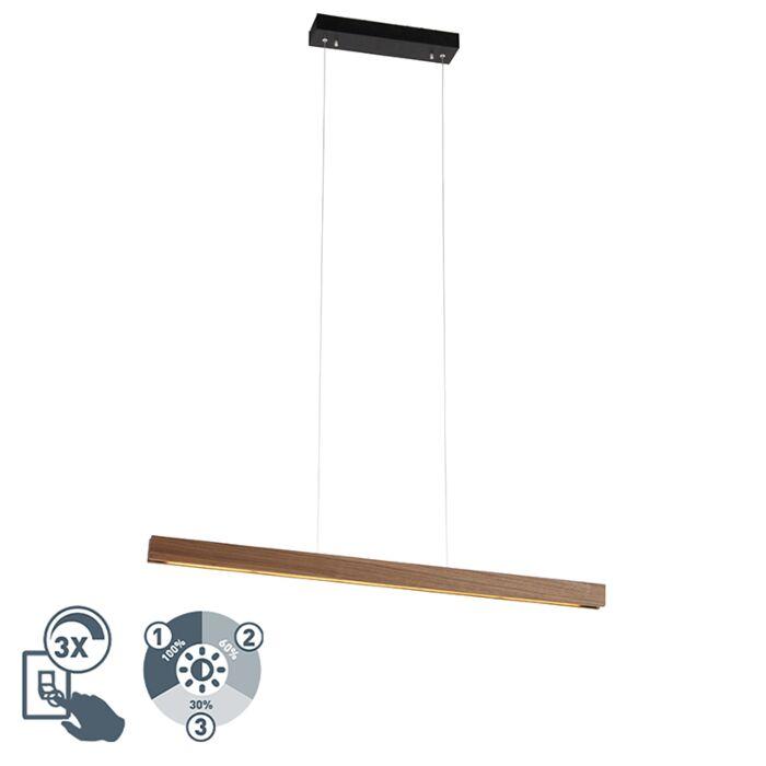 Lampe-à-suspension-moderne-en-bois-avec-LED-dimmable-en-3-étapes---Holz