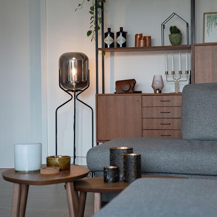 Lampadaire-design-noir-avec-verre-fumé---Bliss