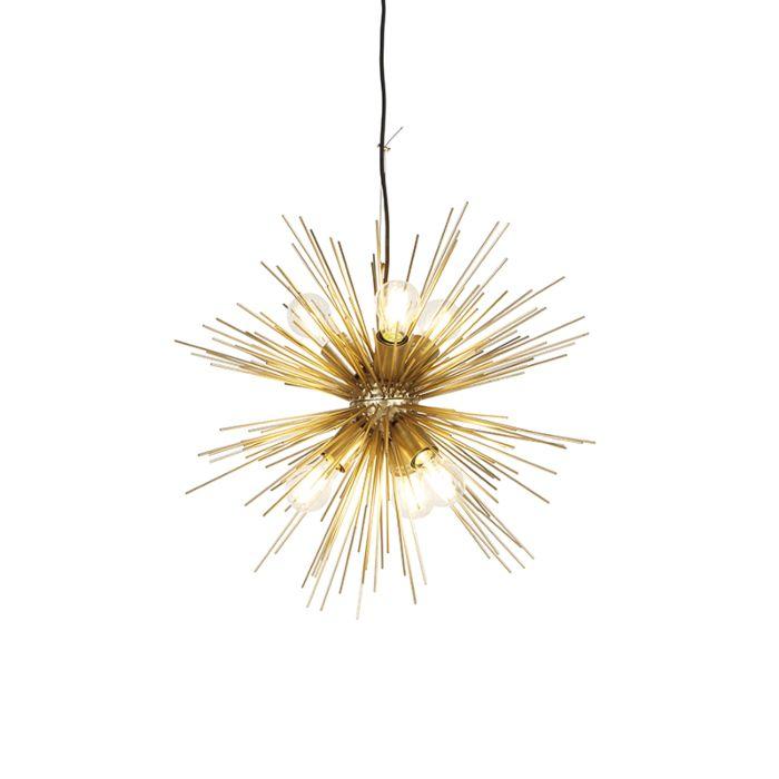 Suspension-Art-Déco-dorée-6-lumières---Balai