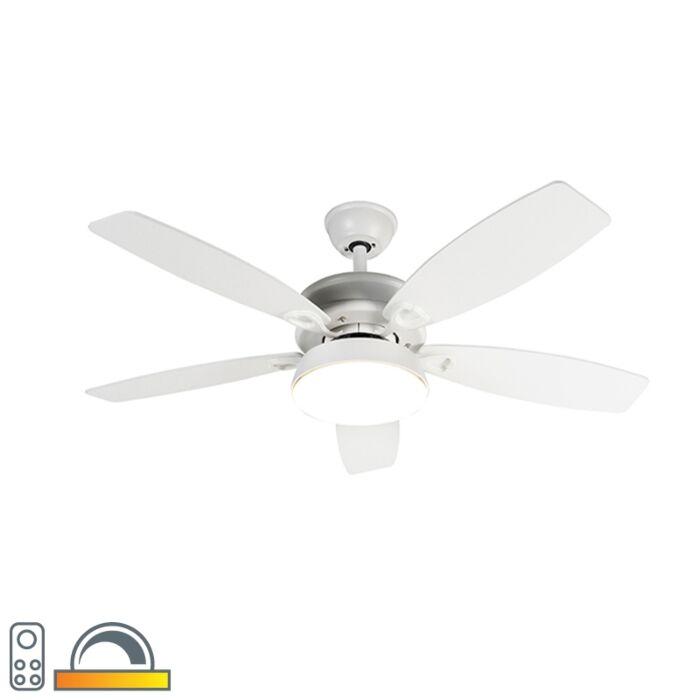 Ventilateur-de-plafond-design-blanc-avec-LED-avec-télécommande---Malaki