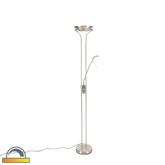 Vloerlamp-staal-met-leeslamp-incl.-LED-en-dim-to-warm---Diva