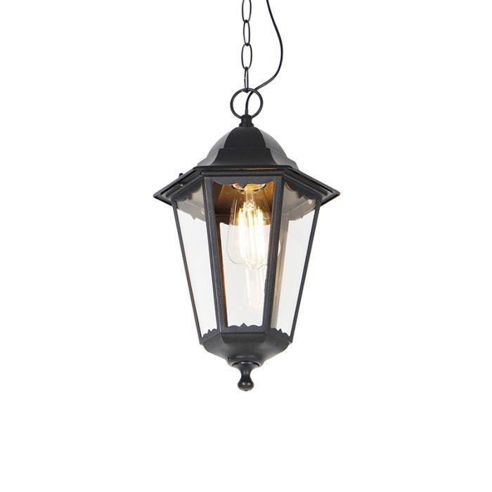 Lampe-à-suspension-d'extérieur-classique-noire-IP44---New-Orleans-Up