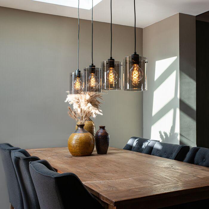 Lampe-à-suspension-design-noir-avec-verre-fumé-4-lumières---Dôme