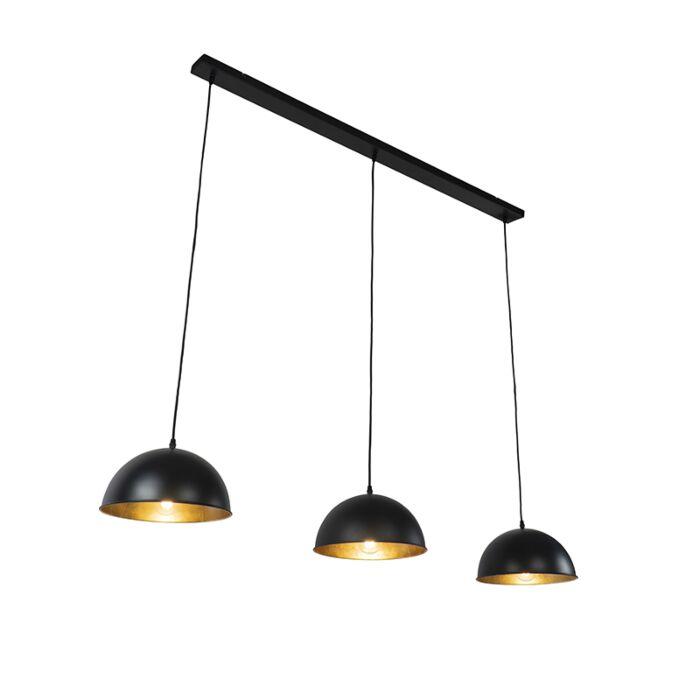 Suspension-industrielle-noire-à-3-lumières-dorées---Magnax