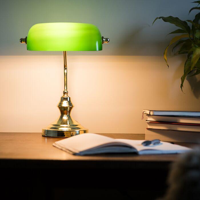 Lampe-de-notaire-Banker-doré/vert