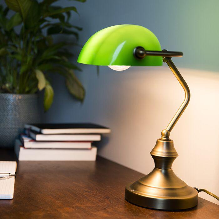 Lampe-de-table-classique-/-lampe-de-notaire-en-bronze-avec-verre-vert---Banker