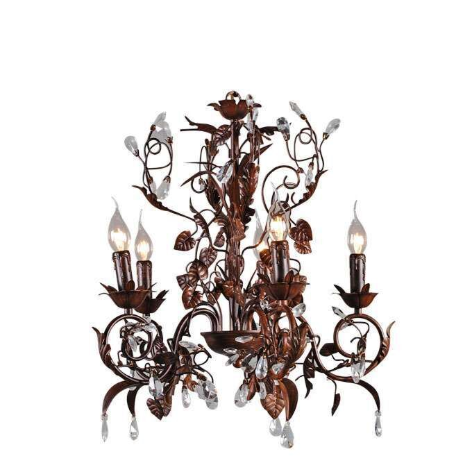 Lustre-Romance-à-5-lumières,-marron-antique