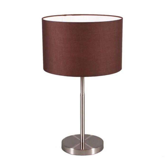 Lampe-de-table-Tambour-acier-avec-abat-jour-marron