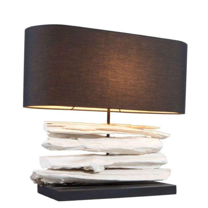 Lampe-de-table-Satun-moyen-blanc-avec-abat-jour-noir