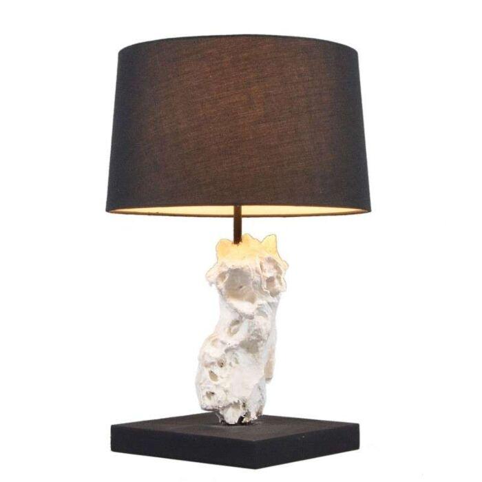 Lampe-de-table-Kanya-blanche-avec-abat-jour-noir