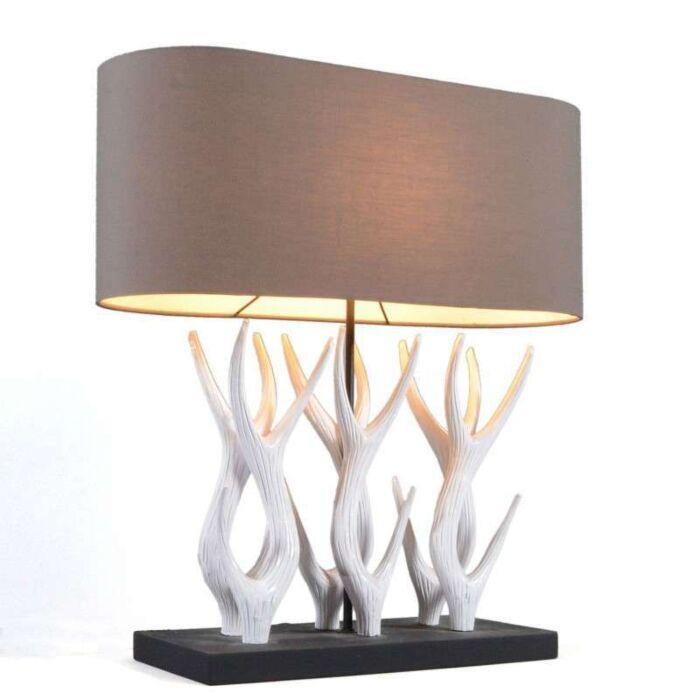 Lampe-de-table-Yindee-Recta-avec-abat-jour-marron