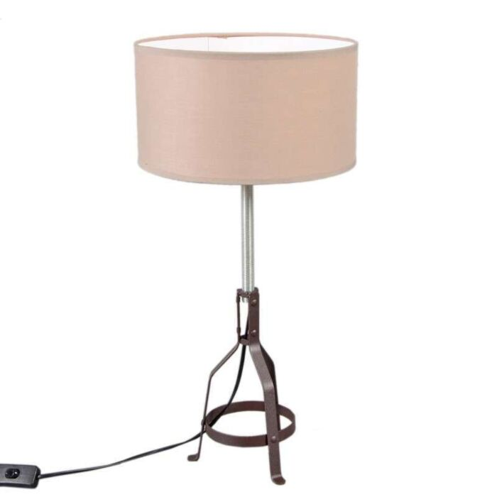 Lampe-à-poser-Metallo-marron-avec-abat-jour-taupe