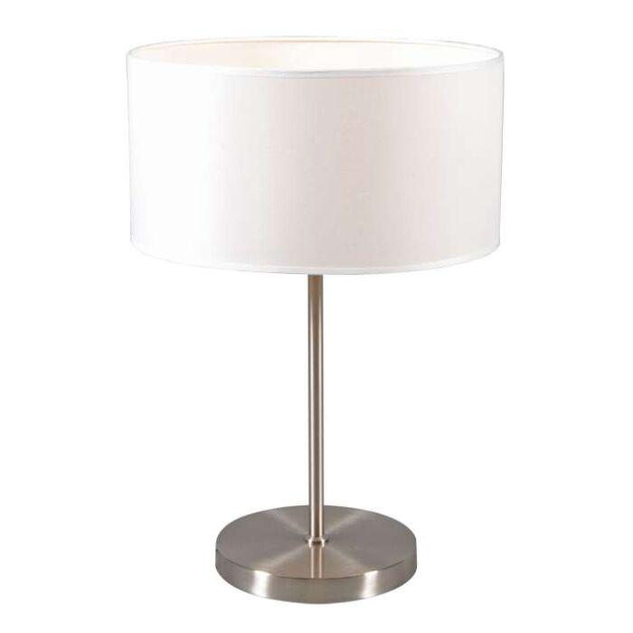 Lampe-de-table-en-acier-Lugar-avec-abat-jour-blanc-crème
