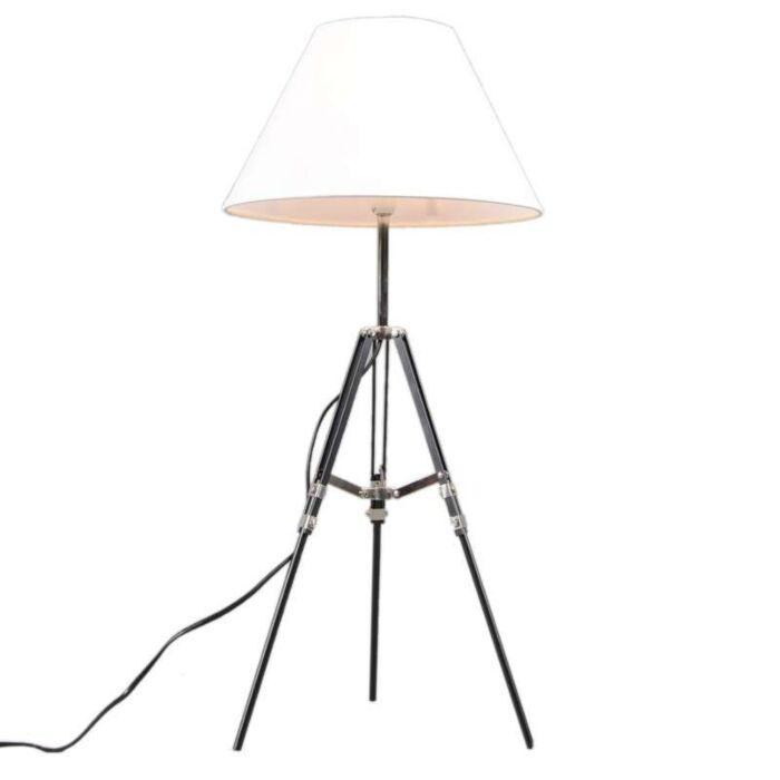 Lampe-de-table-tripode-noire-avec-abat-jour-blanc