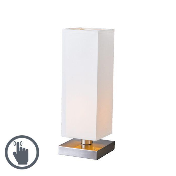 Lampe-de-table-Tower-Touch-acier-blanc