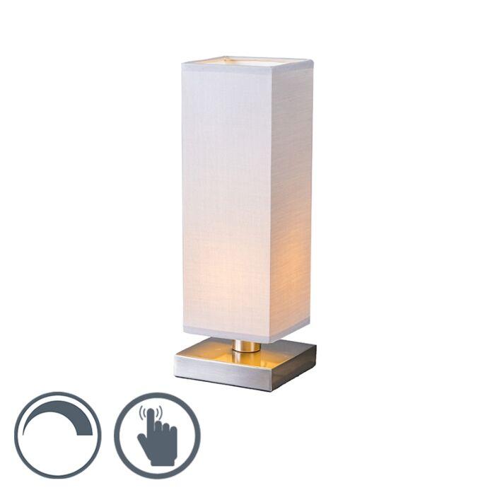Lampe-de-table-Tower-Touch-acier-gris