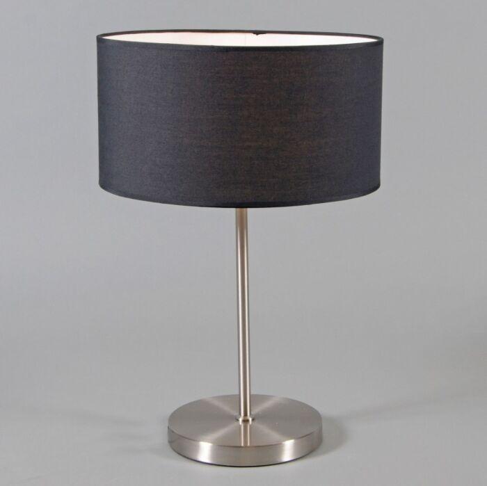 Lampe-de-table-en-acier-Lugar-avec-abat-jour-noir