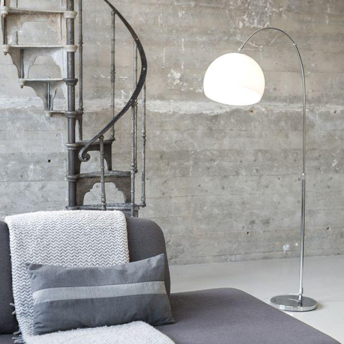 Lampe-à-arc-moderne-chromée-avec-abat-jour-blanc---Arc-Basic