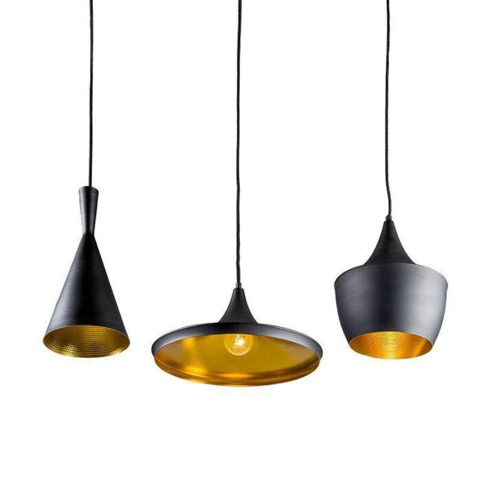 Depeche-3-lampe-à-suspension-noire-avec-doré