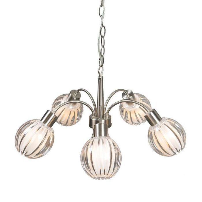 Suspension-Shine-5-lumière-en-acier-avec-clair