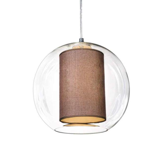 Suspension-Globe-30-avec-abat-jour-marron
