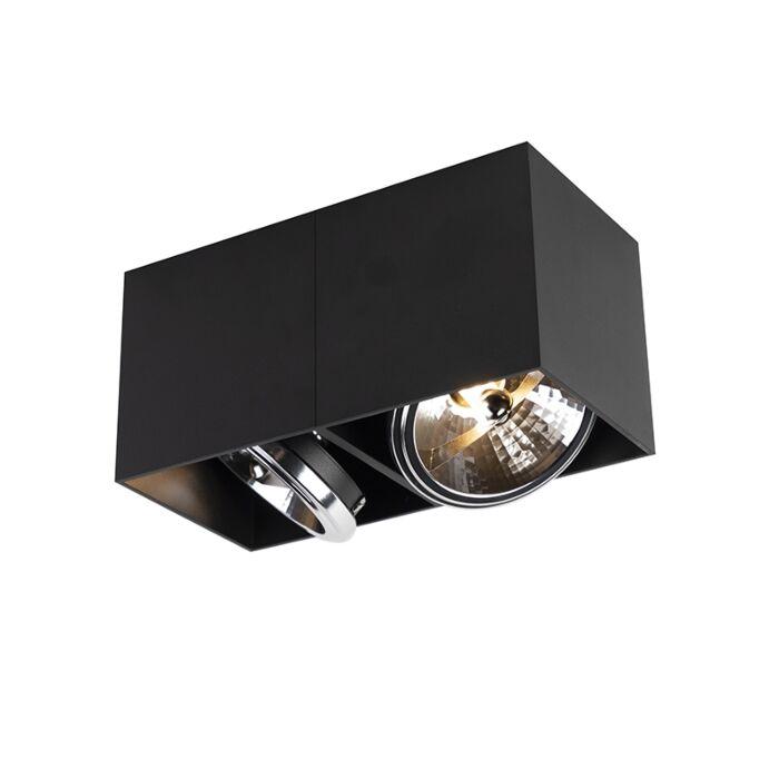 Spot-design-rectangulaire-à-2-ampoules-noir-avec-2-x-G9---Boîte