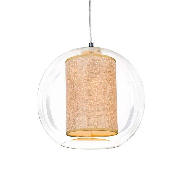 Suspension-Globe-30-avec-abat-jour-beige