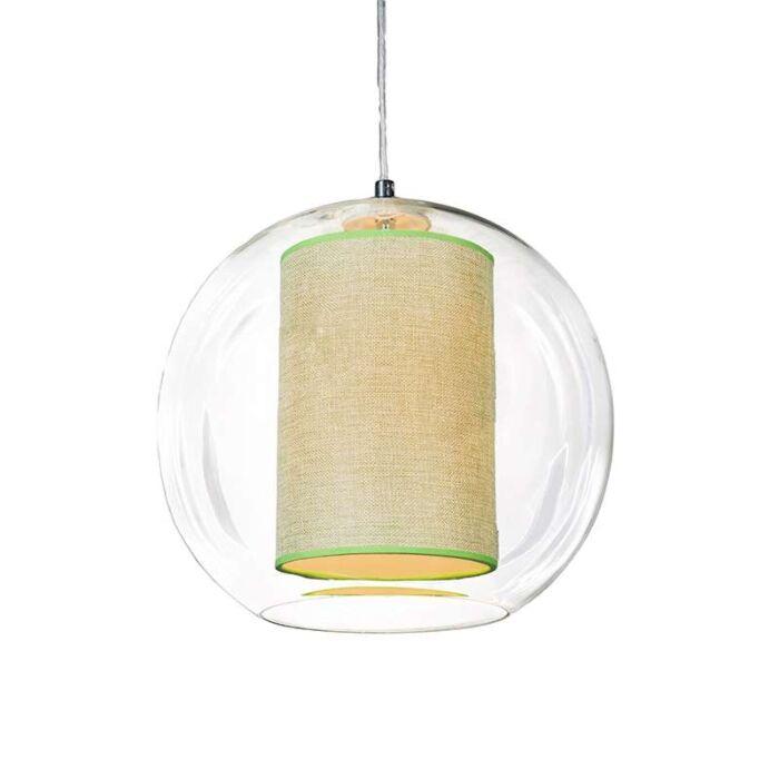 Suspension-Globe-30-avec-abat-jour-vert