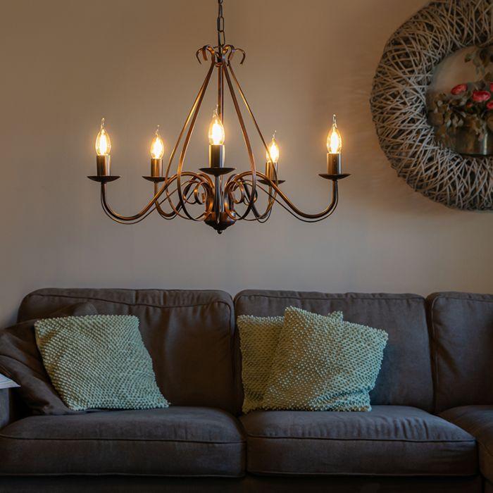 Lustre-classique-brun-rouille-5-lumières---Giuseppe-5