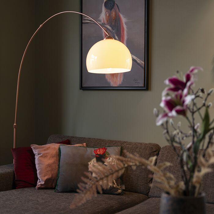 Lampe-à-arc-moderne-en-cuivre-avec-abat-jour-blanc---Arc-Basic