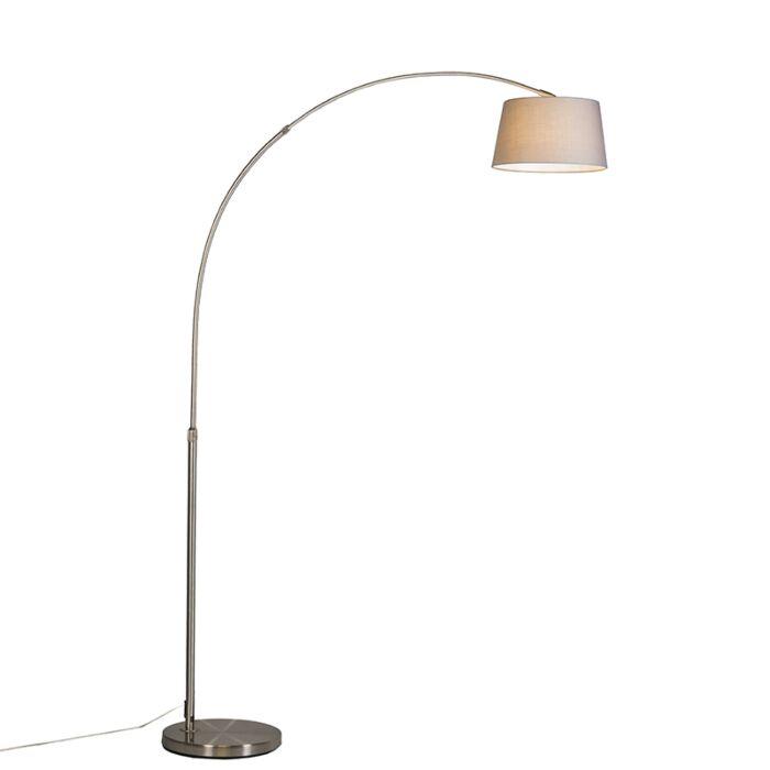 Lampe-à-arc-moderne-en-acier-avec-abat-jour-en-tissu-gris---Arc-Basic
