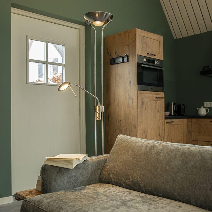 Lampadaire-en-acier-avec-lampe-de-lecture-avec-LED-et-dimmer---Diva-2