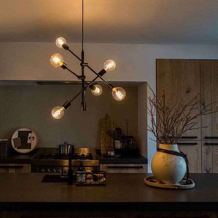 Suspension-industrielle-noire-6-lumières---Sydney