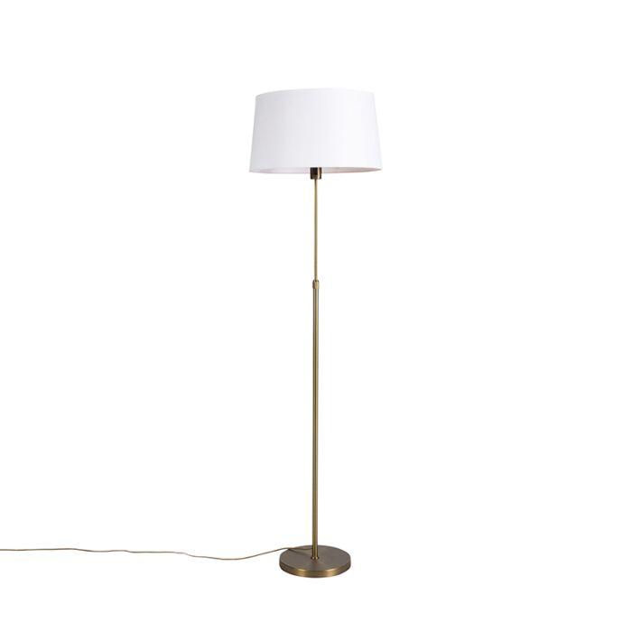 Lampadaire-en-bronze-avec-abat-jour-en-lin-blanc-45-cm-réglable---Parte
