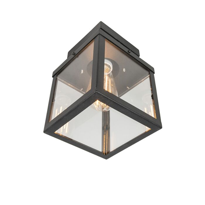 Plafonnier-d'extérieur-industriel-noir-1-lumière---Rotterdam