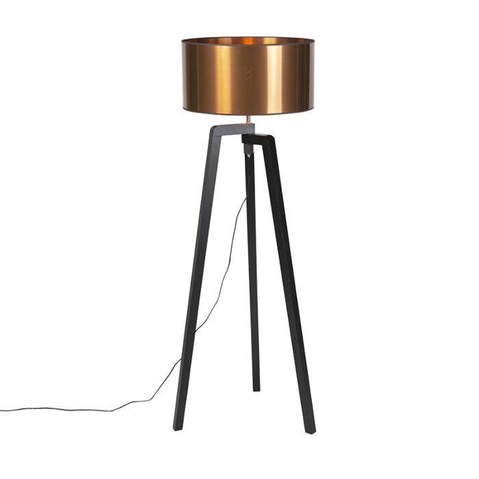 Lampadaire-noir-avec-abat-jour-en-cuivre-50-cm---Puros