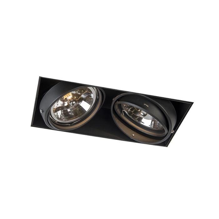 Spot-encastré-noir-AR111-rotatif-et-inclinable-sans-trim-2-lumières---Oneon