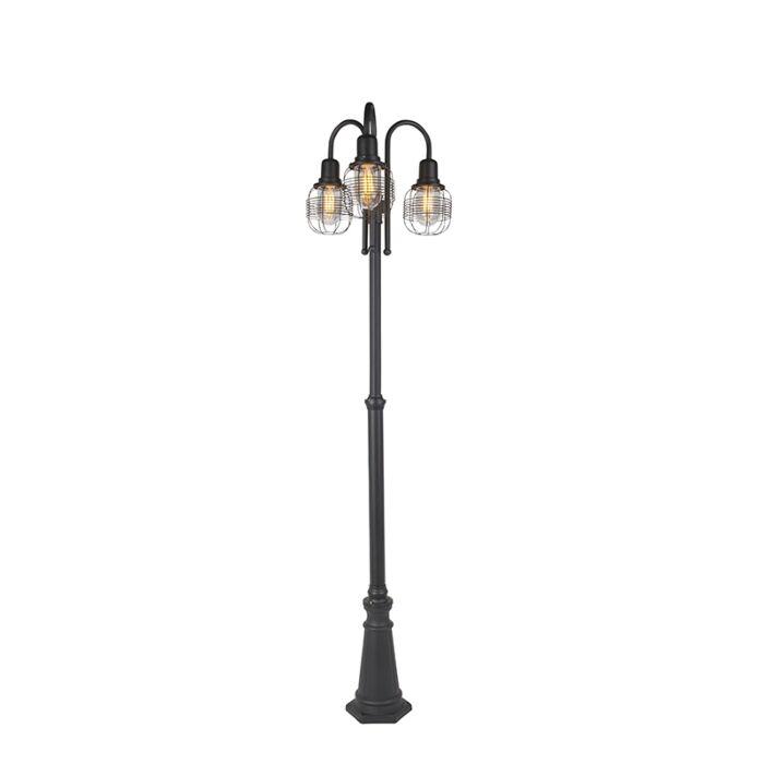 Lampe-d'extérieur-rurale-noire-à-3-lumières-IP44---Guardado