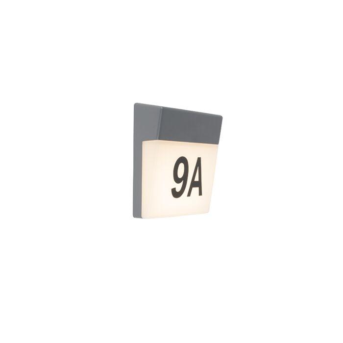 Applique-murale-d'extérieur-gris-avec-LED-et-numéro-de-maison-IP54---Numéros