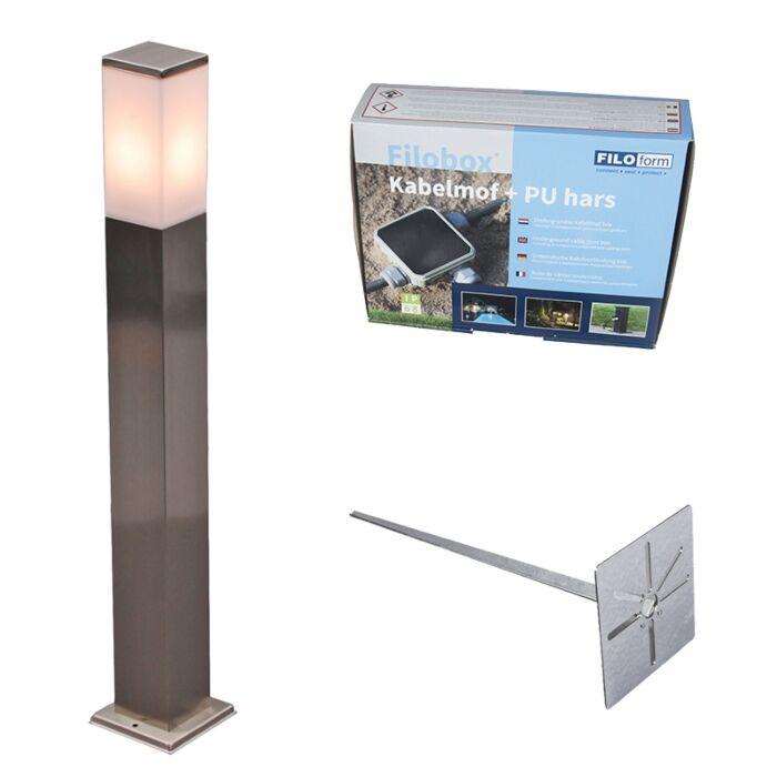 Lampe-d'extérieur-acier-80cm-IP44---Malios-avec-broche-de-terre-et-gaine-de-câble