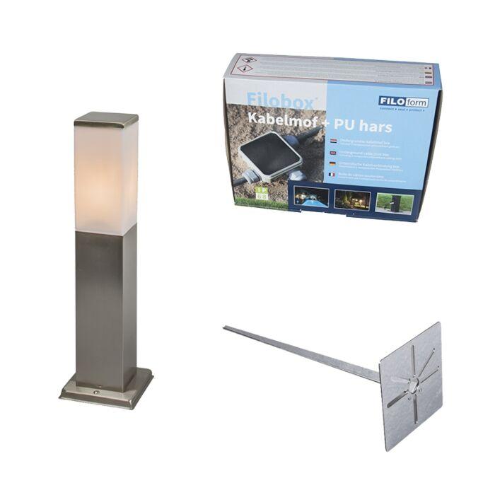 Lampe-d'extérieur-acier-45cm-IP44---Malios-avec-broche-de-terre-et-gaine-de-câble