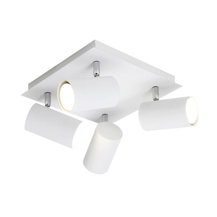 Projecteur-carré-moderne-blanc-4-lumières---Marley