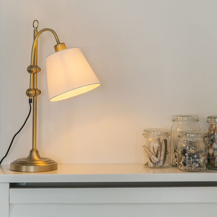 Lampe-de-table-classique-bronze-avec-abat-jour-blanc---Ashley